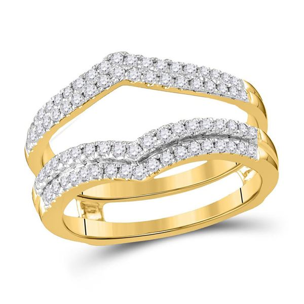 Diamond Wedding Band Ring Guard Enhancer 1/2 Cttw 14kt Yellow Gold
