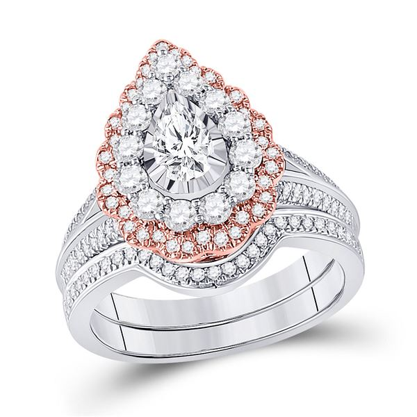 Pear Diamond Bridal Wedding Ring Band Set 1-1/3 Cttw 14kt Two-tone Gold