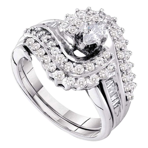 Marquise Diamond Bridal Wedding Ring Band Set 1 Cttw 14kt White Gold