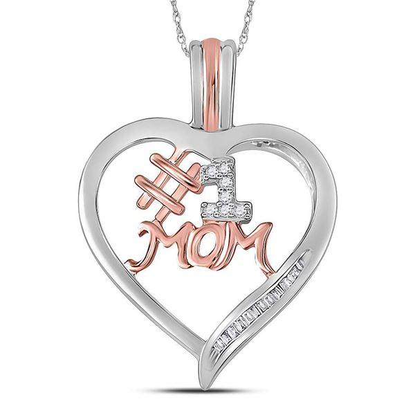Diamond #1 Mom Heart Pendant 1/10 Cttw Sterling Silver