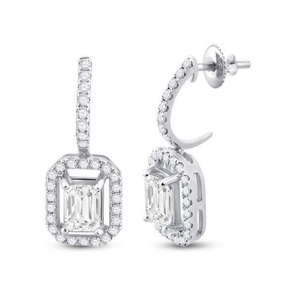 Emerald Diamond Dangle Earrings 1-1/4 Cttw 14kt White Gold