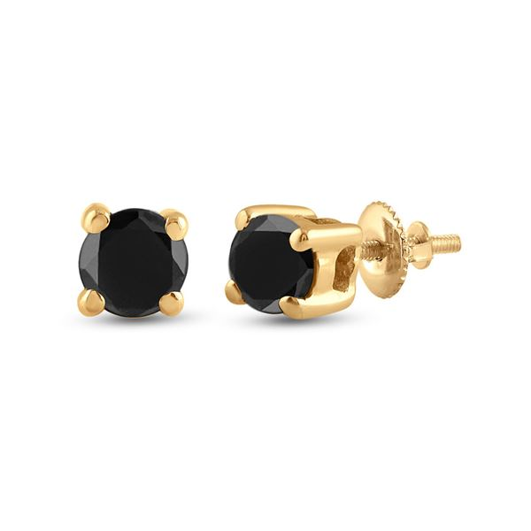 Unisex Black Color Enhanced Diamond Solitaire Stud Earrings 1/4 Cttw 10kt Yellow Gold