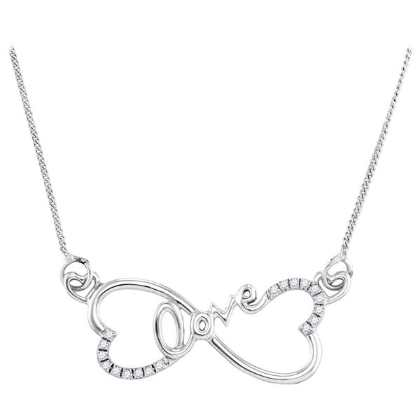 Diamond Heart Infinity Love Pendant Necklace 1/10 Cttw Sterling Silver