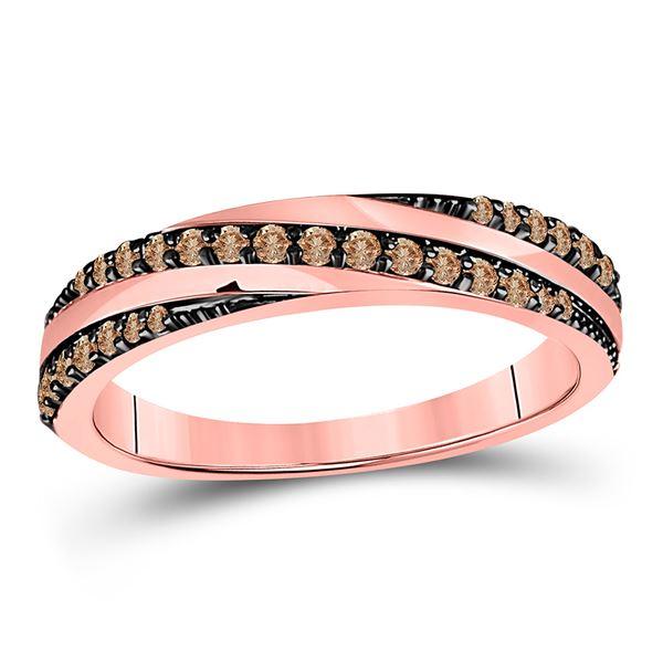 Brown Diamond Diagonal Stripe Band Ring 1/4 Cttw 14kt Rose Gold