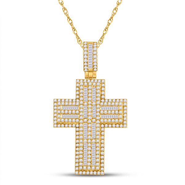 Mens Diamond Cross Charm Pendant 3-1/4 Cttw 10kt Yellow Gold