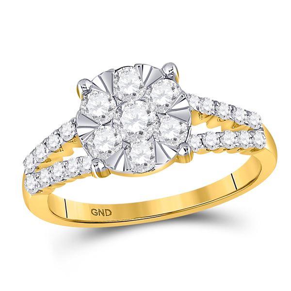 Diamond Flower Cluster Ring 1 Cttw 14kt Yellow Gold