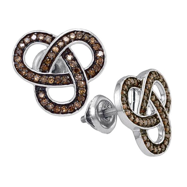 Brown Diamond Trinity Fashion Earrings 1/2 Cttw Sterling Silver