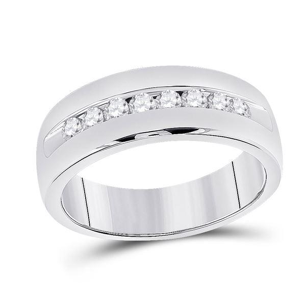 Mens Diamond Wedding Single Row Band Ring 1/2 Cttw 14kt White Gold