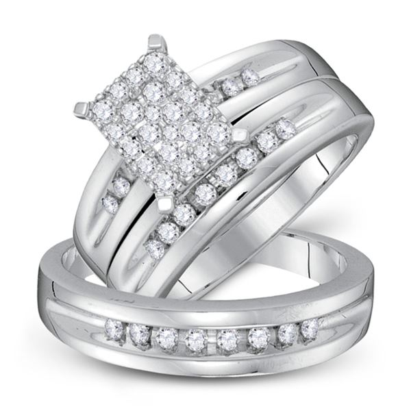 His Hers Diamond Cluster Matching Wedding Set 5/8 Cttw 10kt White Gold