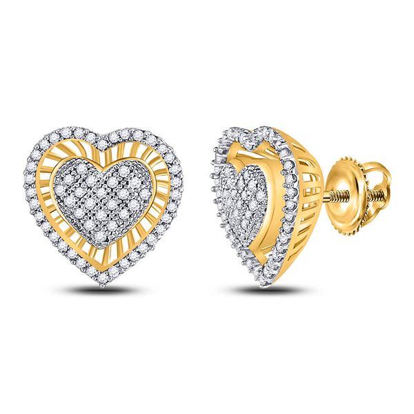 Diamond Heart Cluster Stud Earrings 1/3 Cttw 10kt Yellow Gold