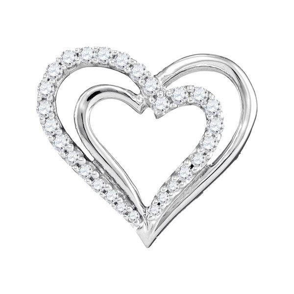 Diamond Double Nested Heart Pendant 1/4 Cttw 10kt White Gold
