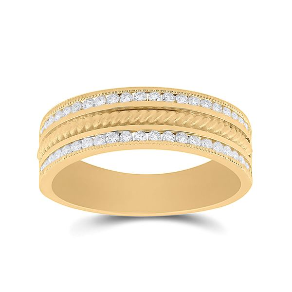 Mens Diamond Wedding Rope Inlay Band Ring 1/2 Cttw 14kt Yellow Gold