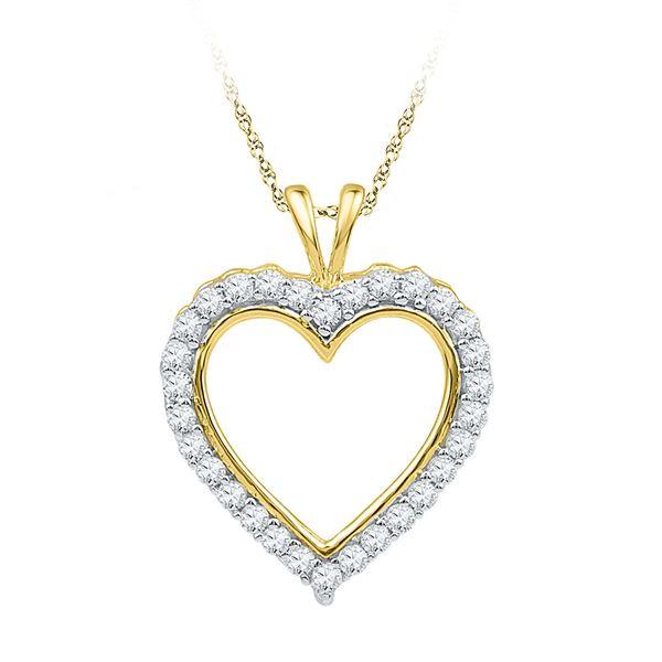 Diamond Heart Outline Pendant 1/4 Cttw 10kt Yellow Gold
