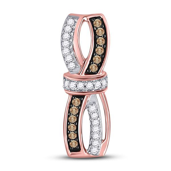 Brown Diamond Bound Fashion Pendant 1/4 Cttw 10kt Rose Gold