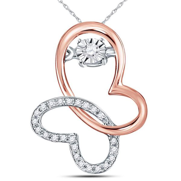 Diamond Moving Twinkle Butterfly Bug Pendant 1/10 Cttw 10kt Rose Gold