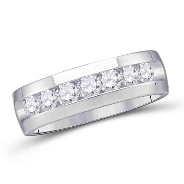 Mens Channel-set Diamond Wedding Band Ring 1/4 Cttw 14kt White Gold