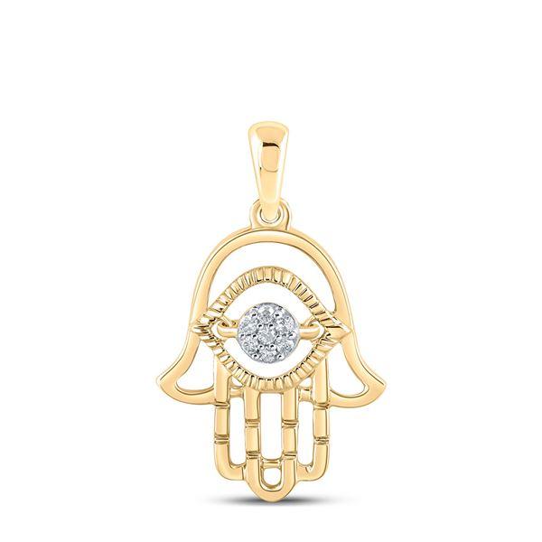 Diamond Hamsa Fashion Pendant 1/20 Cttw 10kt Yellow Gold