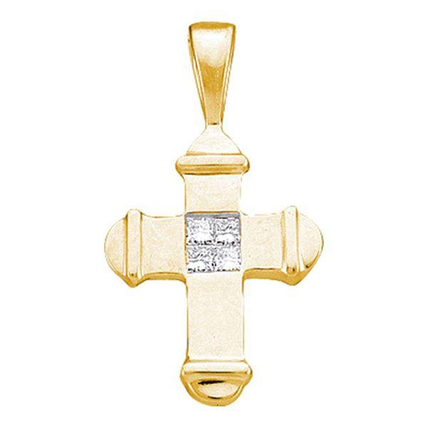 Princess Diamond Cross Pendant 1/20 Cttw 10kt Yellow Gold