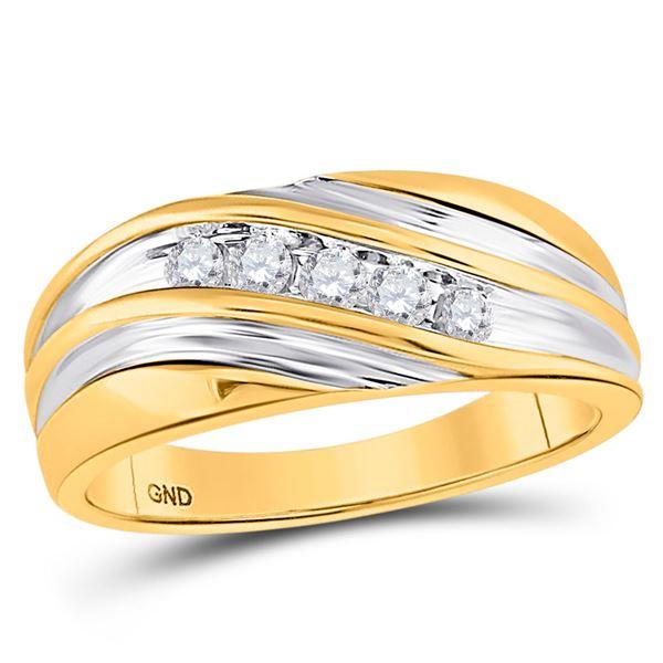 Mens Diamond Wedding Band Ring 1/4 Cttw 10kt Yellow Gold