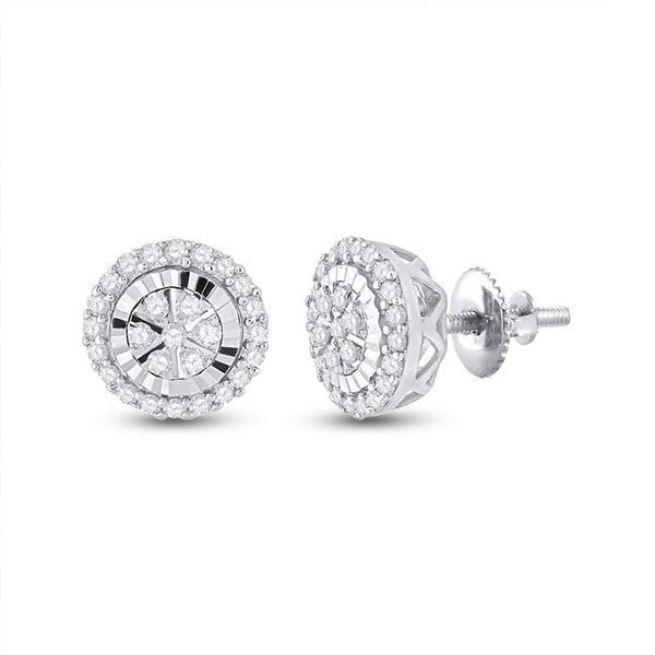 Diamond Cluster Earrings 1/4 Cttw 14kt White Gold