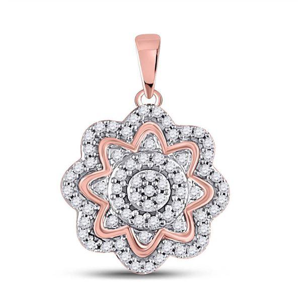 Diamond Flower Cluster Pendant 1/5 Cttw 10kt Rose Gold