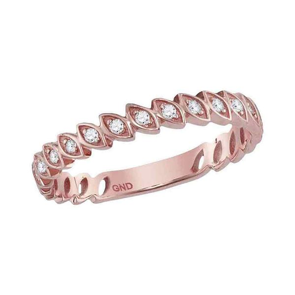 Diamond Marquise Shape Stackable Band Ring 1/10 Cttw 10kt Rose Gold