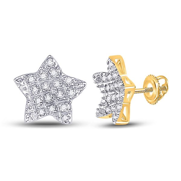 Mens Diamond Star Earrings 1/10 Cttw 10kt Yellow Gold