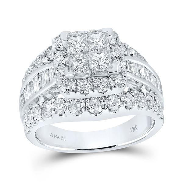 Princess Diamond Halo Cluster Bridal Wedding Engagement Ring 3 Cttw 14kt White Gold