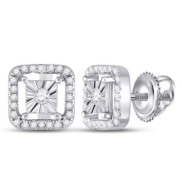 Diamond Miracle Square Earrings 1/4 Cttw Sterling Silver