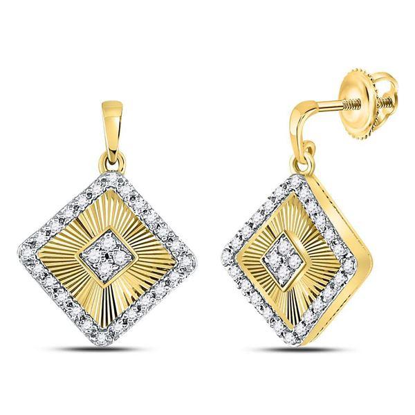 Diamond Diagonal Square Dangle Earrings 1/5 Cttw 10kt Yellow Gold