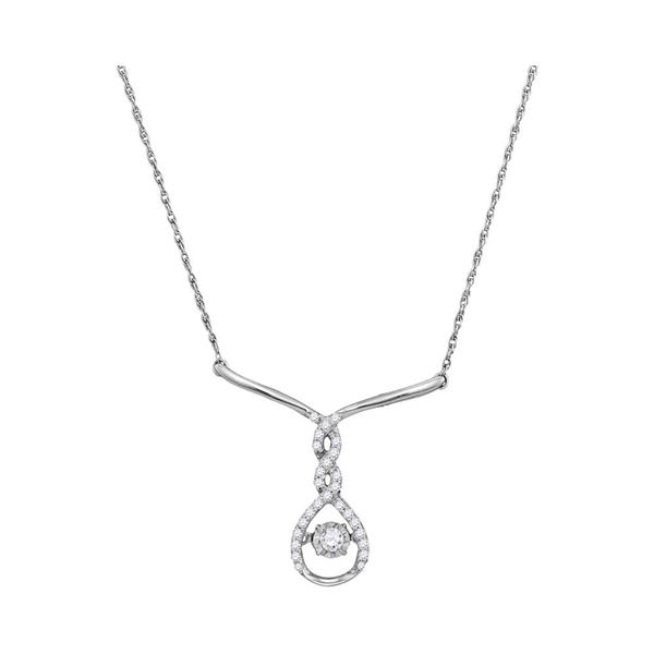 Diamond Moving Twinkle Teardrop Necklace 1/5 Cttw 10kt White Gold