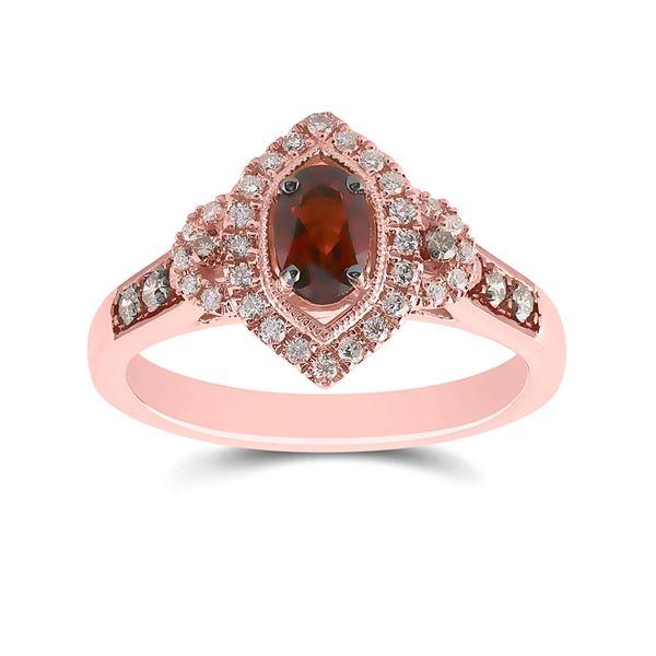 Oval Garnet Diamond Solitaire Ring 7/8 Cttw 14kt Rose Gold