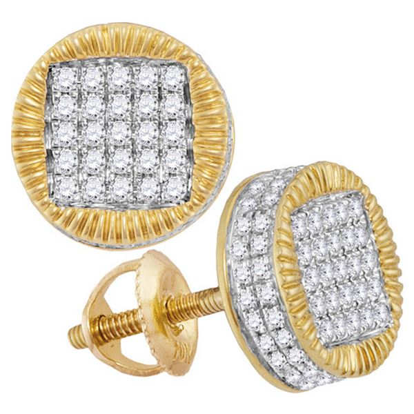 Mens Diamond Fluted Circle Stud Earrings 1/2 Cttw 10kt Yellow Gold