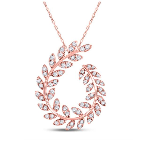 Diamond Vine Leaf Fashion Pendant 3/4 Cttw 14kt Rose Gold