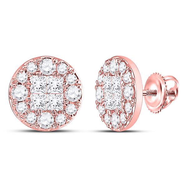 Princess Diamond Cluster Earrings 1/2 Cttw 14kt Rose Gold