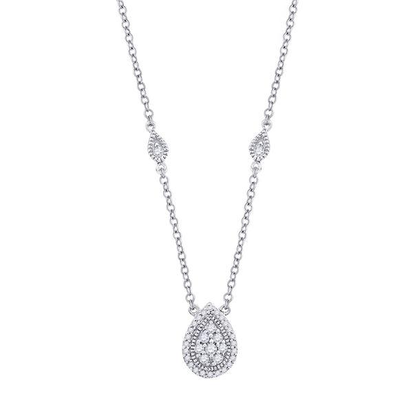 Diamond Teardrop Necklace 1/5 Cttw 10kt White Gold