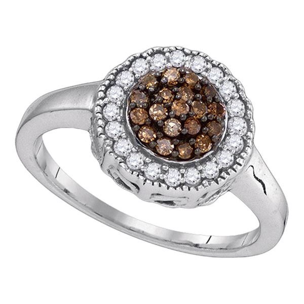Brown Diamond Cluster Ring 1/3 Cttw Sterling Silver