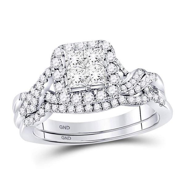 Princess Diamond Twist Bridal Wedding Ring Band Set 1 Cttw 14kt White Gold