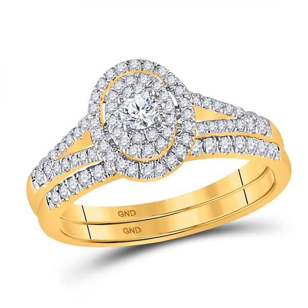 Diamond Oval Bridal Wedding Ring Band Set 1/2 Cttw 10kt Yellow Gold