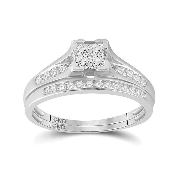 Princess Diamond Bridal Wedding Ring Band Set 1/2 Cttw 10kt White Gold