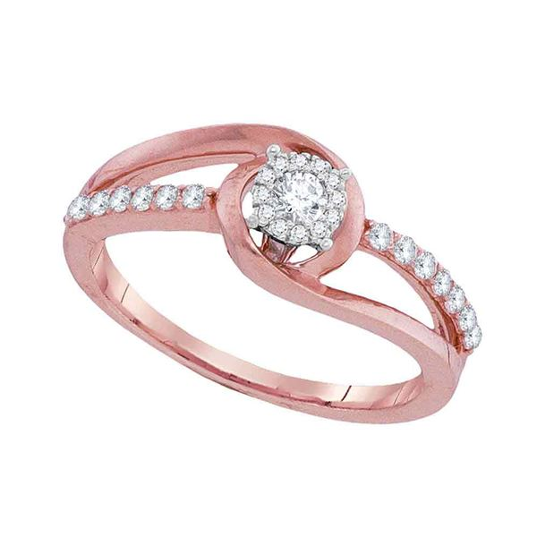 Diamond Solitaire Bridal Wedding Engagement Ring 1/3 Cttw 10kt Rose Gold