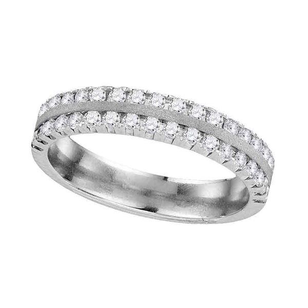 Machine Set Diamond Wedding Band 1/2 Cttw 14kt White Gold