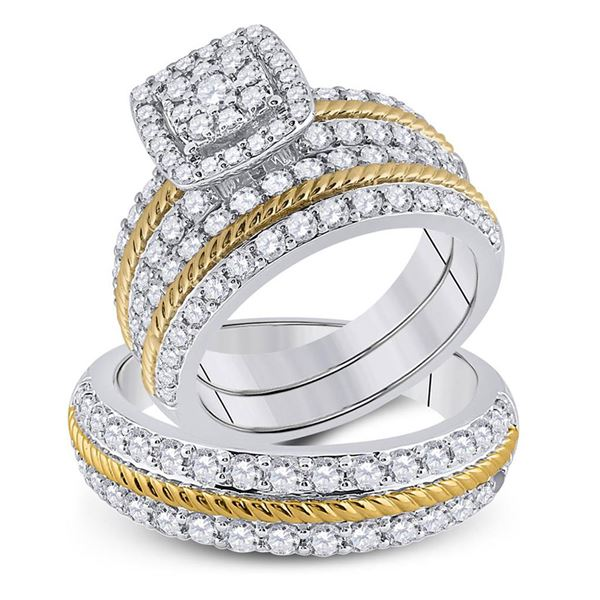 His Hers Diamond Square Matching Wedding Set 2-3/8 Cttw 14kt Two-tone Gold