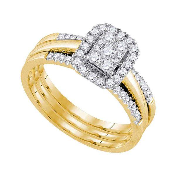 Diamond Cluster Bridal Wedding Ring Band Set 1/2 Cttw 10kt Yellow Gold