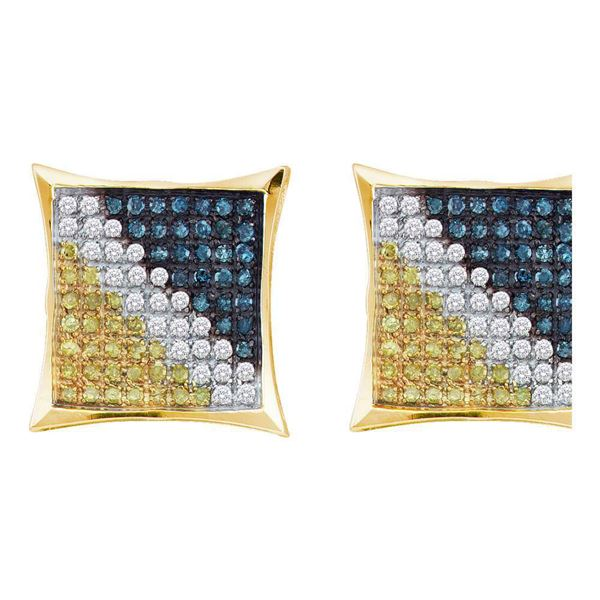 Yellow-tone Sterling Silver Mens Blue Color Enhanced Diamond Square Cluster Earrings 1/6 Cttw Yellow