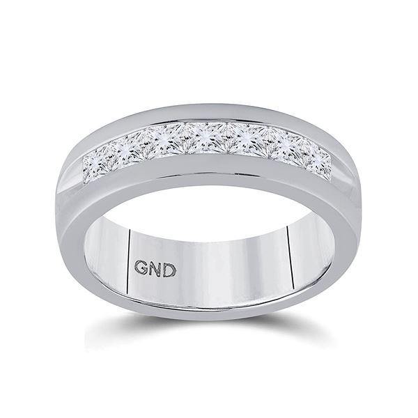 Mens Machine Set Princess Diamond Wedding Channel Band Ring 1-1/2 Cttw 14kt White Gold