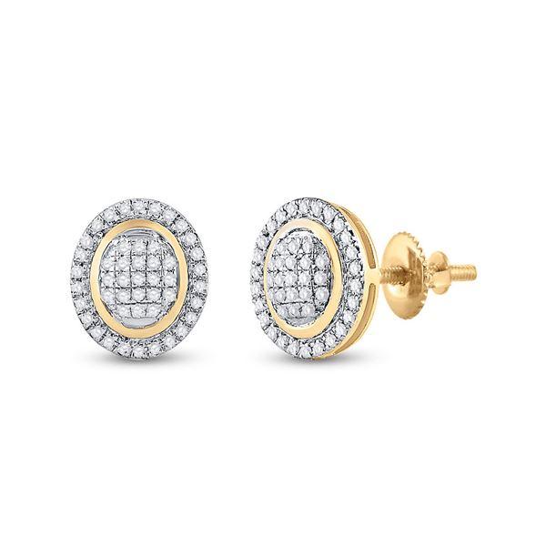Diamond Oval Earrings 1/4 Cttw 10kt Yellow Gold
