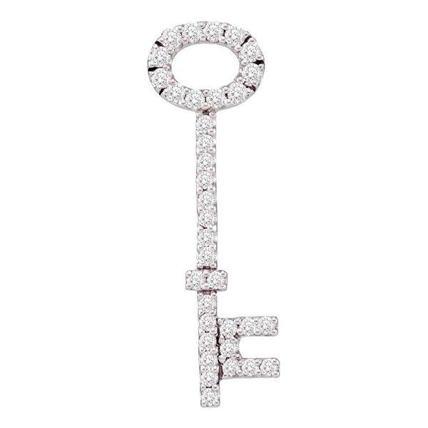 Diamond Slender Oval Key Pendant 1/2 Cttw 14kt White Gold