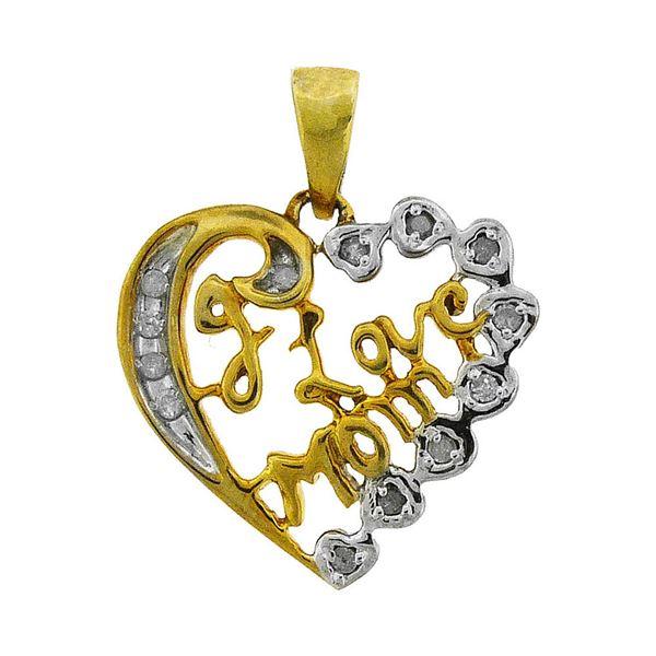 Diamond I Love Mom Heart Pendant 1/8 Cttw Sterling Silver