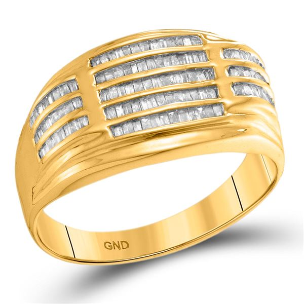 Mens Baguette Diamond Striped Fashion Ring 1/2 Cttw 10kt Yellow Gold